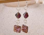 Glass Bead Earrings - Dangle Earrings - Long Purple Earrings - Amethsyt Czech Glass Bead Earrings - Amethyst and Silver Earrings
