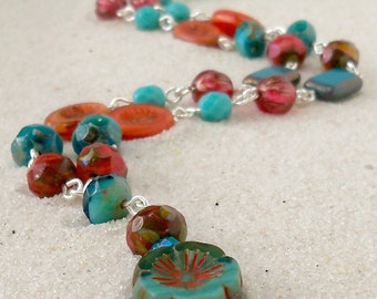 Unique Necklace - Gift Idea - Beaded Necklace - Teal, Turquoise, and Orange Necklace - Bohemian Necklace - Boho Necklace - Retro