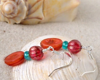 Glass Bead Jewelry - Glass Bead Earrings - Orange Glass Bead Earrings - Short Orange Bead Earrings - Drop Earrings - Teal and Orange Series