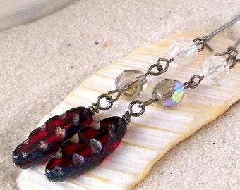 Beaded Jewelry - Beaded Dangle Earrings - Long Beaded Earrings - Glass Beaded Dangle Earrings - Red Dangle Earrings - Bohemian Earrings