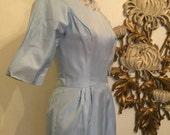 Fall sale 1950s dress lorrie deb dress pale blue dress cocktail dress bridesmaid dress size medium vintage dress