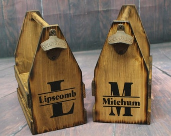 Personalized Wood Beer Caddy-Beer Carrier-Beer Caddy-bottle opener Wooden six pack holder caddies Groomsman gift Anniversary Man Birthday