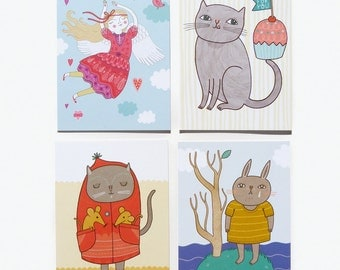 Postcard Set #1 - Cats, Bunny and Valentines Angel