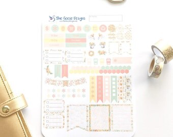 FIELDS of GOLD Weekly Planner Kit, Summer Sunflower Planner Sticker Kit, 85+ stickers!