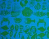 VINTAGE 70s Jim Tillett silk screen print blue and green Caribbean sea