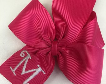 Pink Initial Hair Bow, Monogrammed Letter, Girls Shocking Posh, 4 inch, Kids Hairbow, For School, Summer Applique, Embroidered Font, Solid