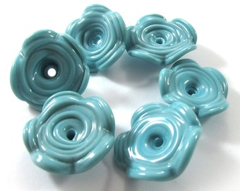 Lampwork beads glass set, Lampwork Beads set, lampwork beads - Fairy flower Bells, Aqua (6) SRA