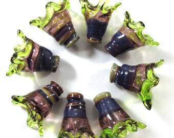 Handmade Lampwork bead glass - Lampwork beads set - Thimble Bell Beads, multicolor, purple, lime (8) SRA