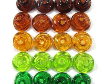 Handmade Lampwork Beads Glass, Lampwork beads set, Cone Shape Bead Caps, green and amber (20) SRA