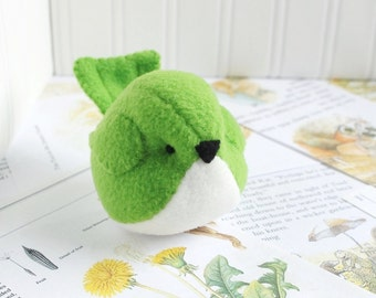 Kids Kelly Green Fleece Bird Stuffed Animal Childrens Handmade Plush Toy