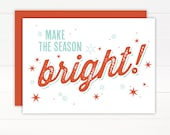 SALE 50% OFF - Christmas Card - BRIGHT Holiday Card Set of 8
