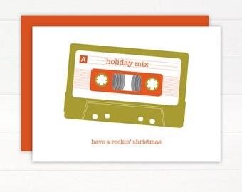 SALE 50% OFF - Christmas Card - MIXTAPE Holiday Card Set of 8