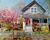 """House Home Wedding Venue Portrait, 14  x 18"""" custom oil painting, made to order"""