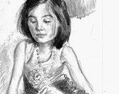 "Child Children's Portrait Sketch Action Illustration in Pencil on Paper,  8 x 10"""