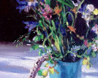 Blue Vase with Wild Flowers, small oil painting