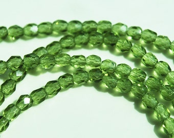 Czech Glass,  Peridot Color Faceted Round Bead Strand, 3MM
