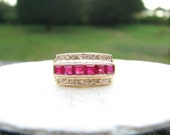 HOLD, Vintage Ruby Diamond Ring, Vibrant Color and Sparkle, Channel Set Gems in 14K Gold Band, Wedding Band, Right Hand Ring or Stacker