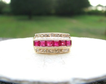 Vintage Ruby Diamond Ring, Vibrant Color and Sparkle, Channel Set Gems in 14K Gold Band, Wedding Band, Right Hand Ring or Stacker