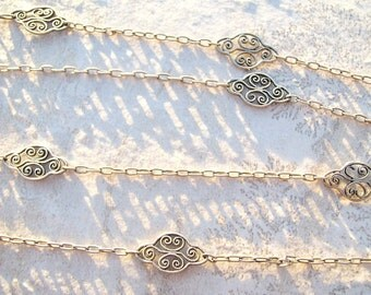 Antique French Silver Long Chain,  Elegant Fancy Filigree Necklace, Opera Length, Hallamarked, Lovely