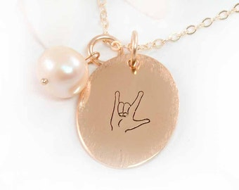 Golden Oval ASL I Love You Necklace, Sign Language, 14k Gold Fill and Freshwater Pearl Love You Necklace