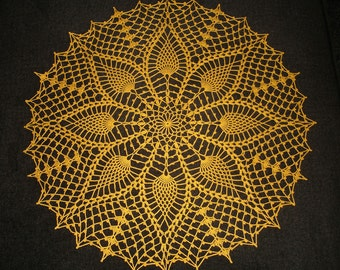 """New Handmade Crocheted """"Southern Climes"""" Doily in Goldenrod - 19"""""""