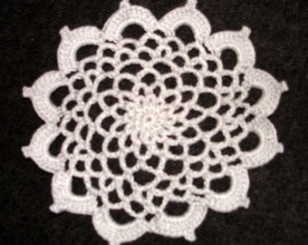 """New Handmade Crocheted """"83"""" Coaster/Doily in Silver"""