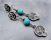 sugar skull earrings, turquoise earrings, day of the dead earrings, post earrings, Anne Choi, Day of the Dead Jewelry, sterling silver