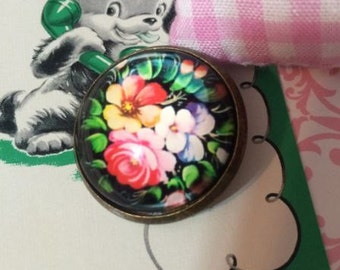 Crystal Glass Dome Button Russian Folk Art Painting Rose Florals