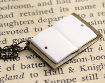 Bookish Necklace in Sterling, Brass and Vintage Faux Ivory