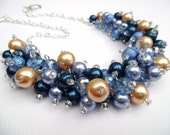 Cornflower Blue and Light Navy Pearl Beaded Necklace, Blue Bridal Jewelry, Cluster Necklace, Chunky Necklace, Bridesmaid Gift, Denim Blue