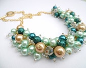 Teal Mint and Gold Pearl Beaded Necklace, Mint Green Wedding Jewelry, Chunky Necklace, Bridal Jewelry, Bridesmaid Gift, Cluster Necklace