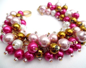Pink Pearl Beaded Bracelet, Wedding Jewelry, Bridesmaid Bracelet, Cluster Bracelet, Pearl Bracelet, Pink Wedding Theme, Bright Pink and Gold