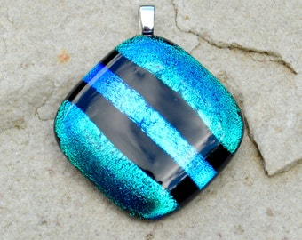 Dichroic Glass Pendant - Bright iridescent Blue Green Aqua Stripes - Small Silver Plated Bail Fitting - Gift Boxed