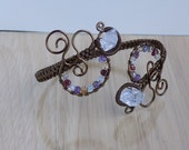 Diamond Quartz Gemstone Vintage Bronze Parawire Wire Wrapped Cuff Bracelet Jewelry Handmade Ship Crystal Healing Fantasy Cosplay Gypsy Cuff