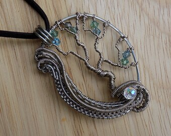 Tree of Life Pendant Swirling Wire Weave Swarovski Crystal Titanium Parawire Wire Wrapped Jewelry Handmade Renaissance Fantasy Medallion