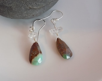 Chrysoprase Diamond Quartz Sterling Silver Wire Wrapped Earrings Green Brown Faceted Drops Quartz Points Wire Wrapped Jewelry Handmade
