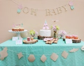 Boho Chic Baby Shower Decorations Package - Southwestern Teepee Party - Feathers/Arrows cupcake toppers - Tags - Antlers Flower Centerpice