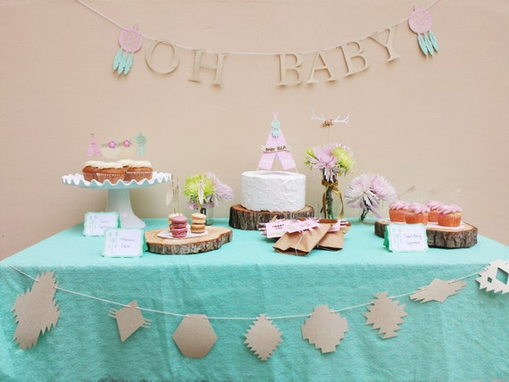 Items similar to boho chic baby shower decorations package for Baby shower decoration packages