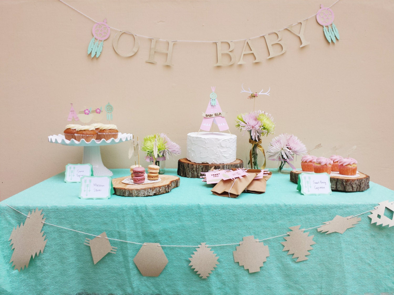 Boho Baby Shower Centerpieces ~ Boho chic baby shower decorations package southwestern