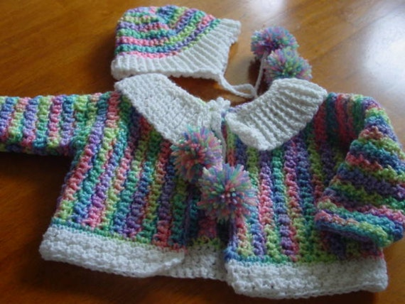 Hand knitted baby sweater and helmet hat, hand crocheted Infant Girll Sweater Set Newborn