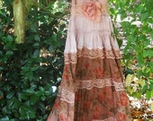 Valentines Sale Floral boho dress lace tiers tea stained maxi  fairytale rose  vintage   romantic custom  by vintage opulence on Etsy
