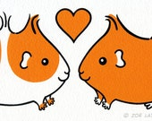 Hand Pulled Screen Print - Guinea-pig Sweethearts - Orange
