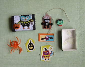 Trick or Treating Owl Halloween Matchbox with Goodies