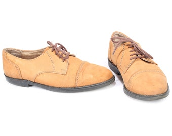 Mens OXFORD shoes Beige Suede Oxfords Vintage Lace Up Suede Leather Bourbon Brown Retro Shoes High Quality Brogues Men Us 8 Eur 41.5 UK 7.5