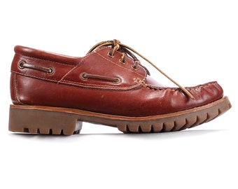 Men's Boat Shoes Deck 80s Brick Red Leather Vintage Samuel Windsor Loafers Rugged Sole Footwear sz Eur 40, Us women 9.5, Us men 7.5, UK 7