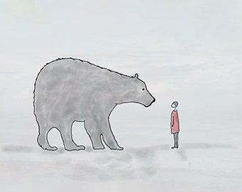 Mama Bear and the Boy...  Original Digital Painting. Children's Art, Polar Bear, Child, Nursery,  Grey Bear, Gray Bear, Arctic,