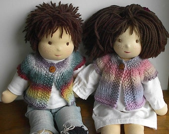 Waldorf Doll Clothes Wool Rainbow Sweater Vest for 14 to 16 Inch Waldorf Dolls - Made Using Knit Picks Chroma Yarn - You Choose Color