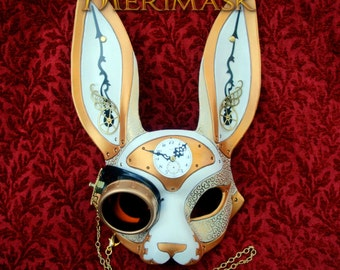 RESERVED for Dylan.... March-of-Time Hare.. made to order leather clockwork rabbit mask