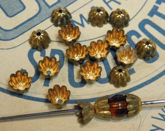 Fluted Vintage Bead Caps 18 for 5mm bead