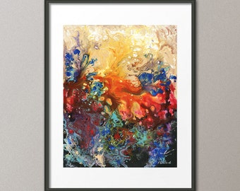 Gallery Canvas and Fine Art Prints Red Art Blue Art Liquid Acrylic Painting Abstract Contemporary Modern Interior Design Elena